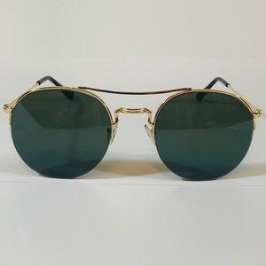 Other - Gold/Green Semi Rimless Circle Sunglasses
